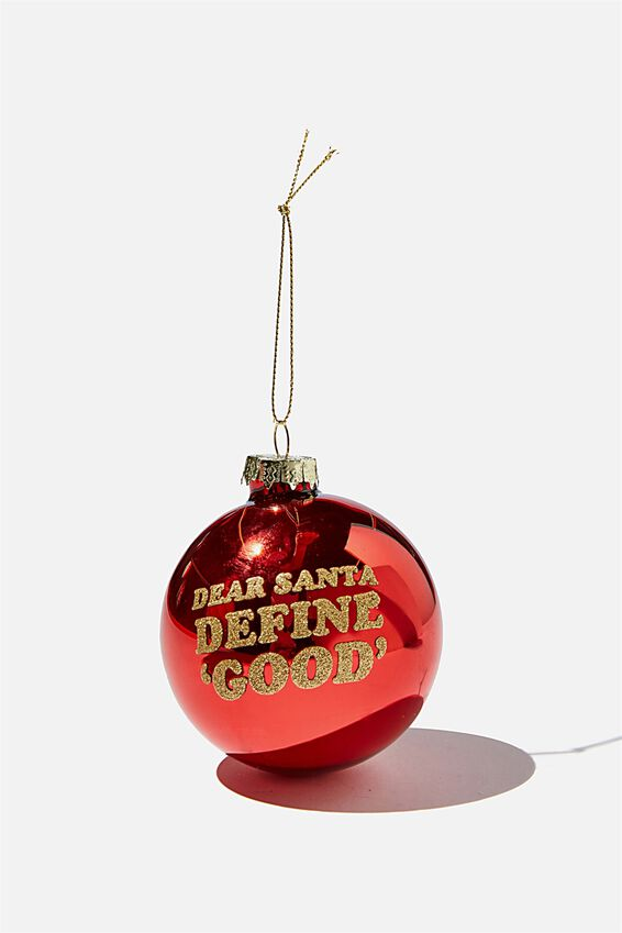 Small Glass Christmas Ornament, BAUBLE DEAR SANTA