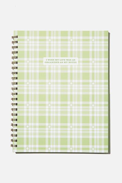 A4 Campus Notebook Recycled, GREEN DAISY CHECK