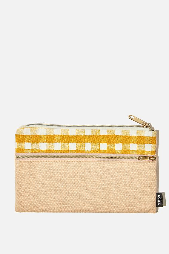 Archer Pencil Case, MUSTARD GINGHAM