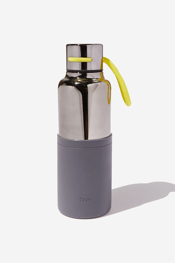 The Loop Metal Drink Bottle, BLACK NEON CORD