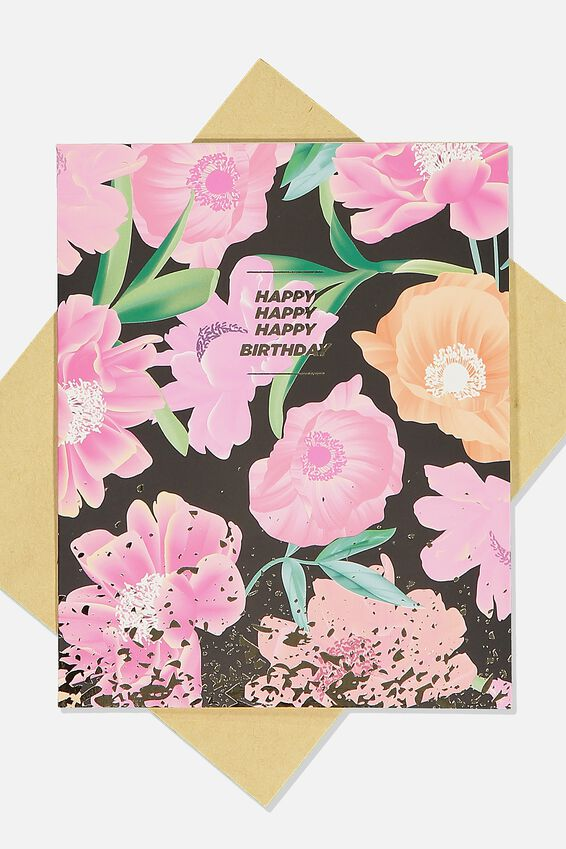 Nice Birthday Card, HAPPY HAPPY BIRTHDAY FLORAL