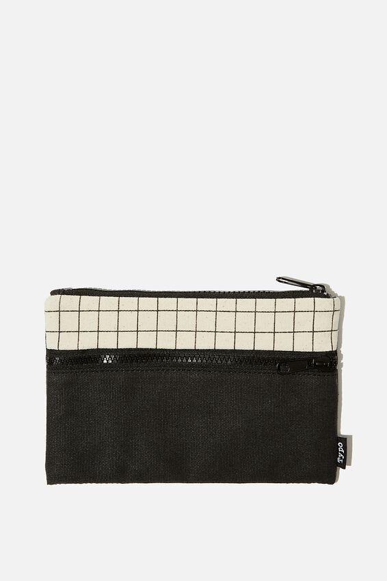 Archer Pencil Case, BLACK & CANVAS GRID