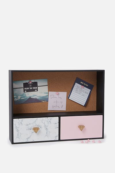 Noticeboard Storage, MARBLE & ROSE GOLD