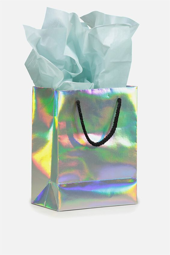 Small Gift Bag with Tissue Paper, IRIDESCENT