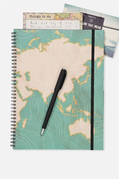 A4 Spinout Notebook - 120 Pages, GREEN MAP CURVES