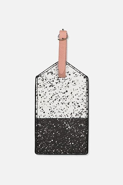 Luggage Tag, WHITE & BLACK SPLATTER SPLICE
