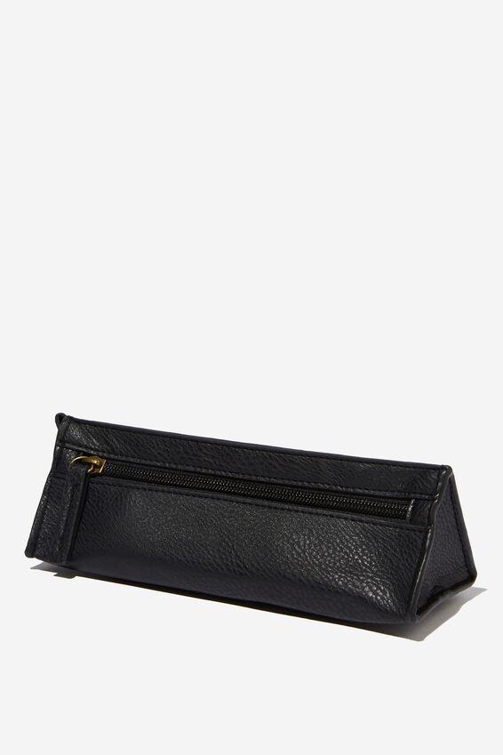Tri Side Pencil Case, BLACK