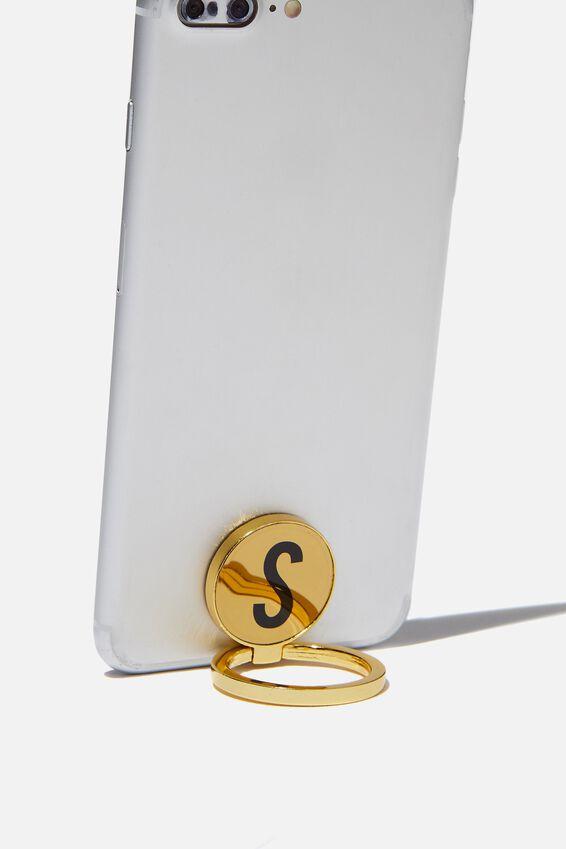 Metal Alpha Phone Ring, GOLD S