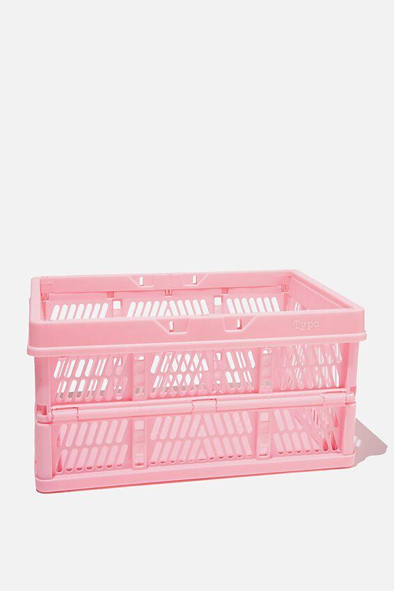 Midi Foldable Storage Crate, PLASTIC PINK