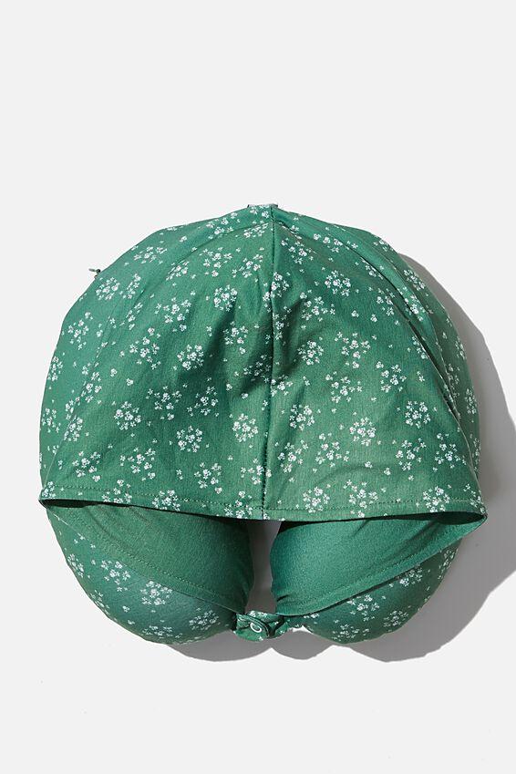 Hooded Travel Neck Pillow, BASIL DITSY