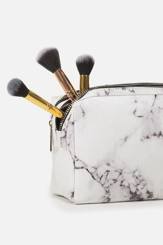 Dual Zipper Cosmetic Case, WHITE MARBLE