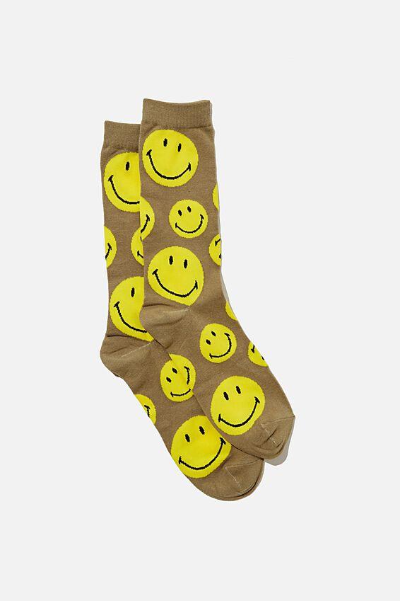 Smiley Socks, LCN SMI KHAKI FACES