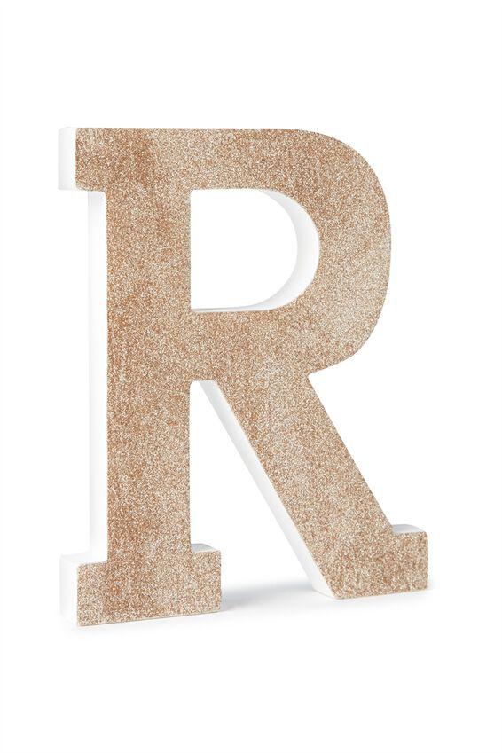 Glitter Letterpress Letter, PALE GOLD GLITTER R