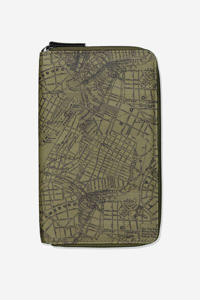 Rfid Odyssey Travel Compendium Wallet, GREEN MAP PRINT