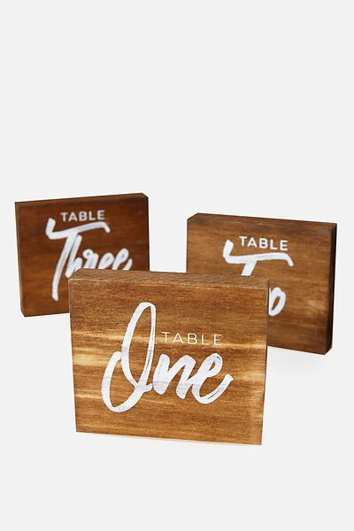 Table Numbers Wooden Base, NATURAL DARK TIMBER