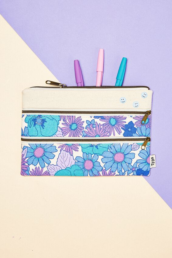 Double Archer Pencil Case, BLUE STEVIE FLORAL