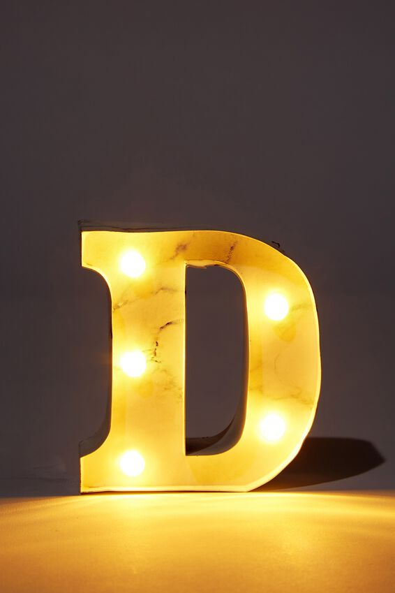 Mini Marquee Letter Lights 10cm, MARBLE D