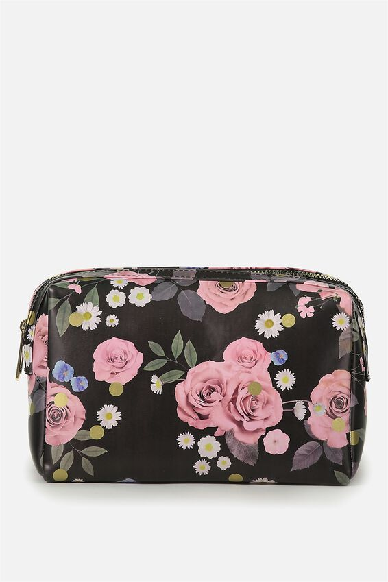 Dual Zipper Cosmetic Case, POLKA FLORAL