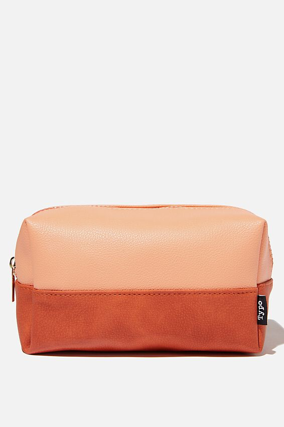 Brooklyn Pencil Case, PINK AND RUST