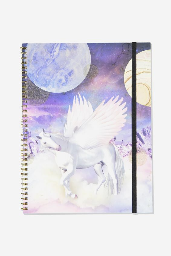 A4 Spinout Notebook Recycled, BOHO UNICORN