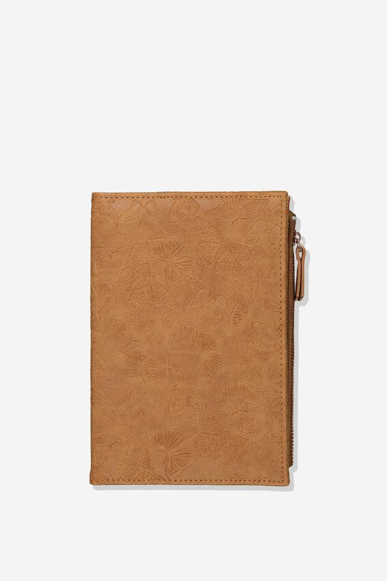 Travel Zip Journal, BUTTERFLY TOOLED MID TAN