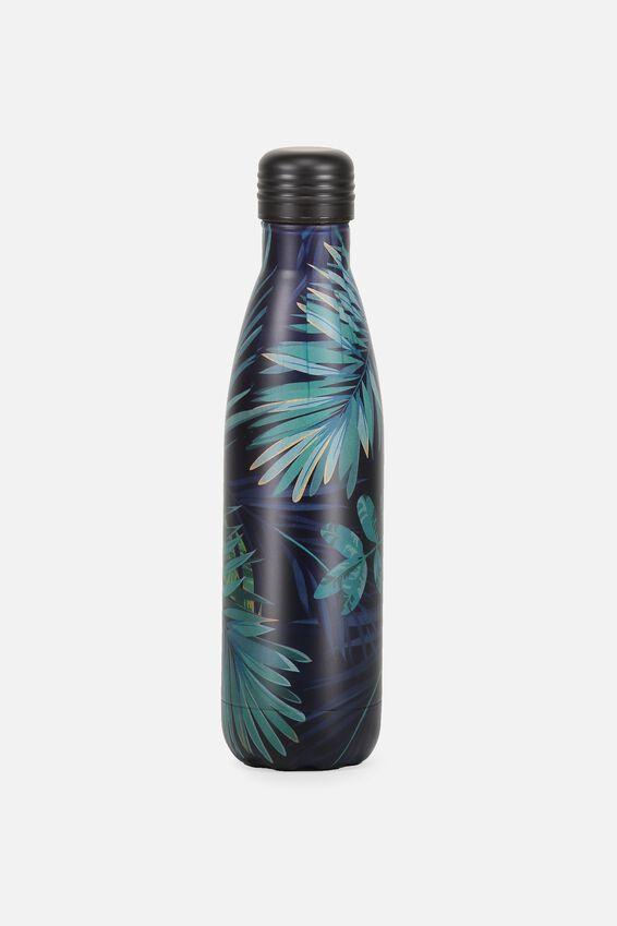 Metal Drink Bottle, JUNGLE LEAVES