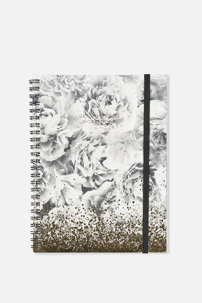 A5 Spinout Notebook - 120 Pages, BLACK AND WHITE PEONIES