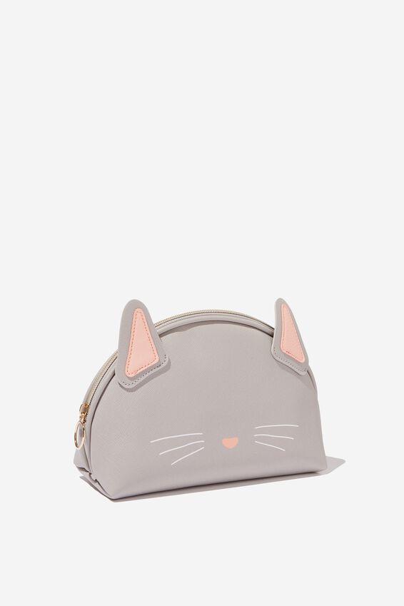 Novelty Cosmetic Bag, GREY CAT