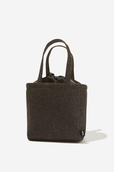 Double Handle Lunch Bag, CHARCOAL FELT