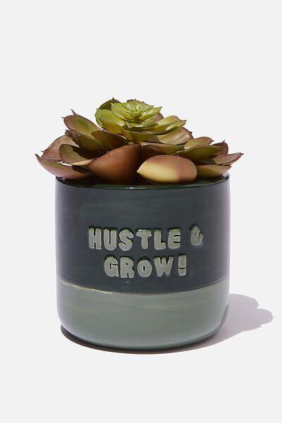 Small Shaped Planter, HUSTLE & GROW