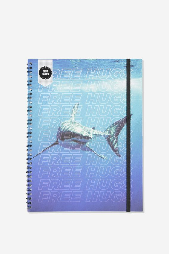 A4 Spinout Notebook Grid Page, SHARK FREE HUGS