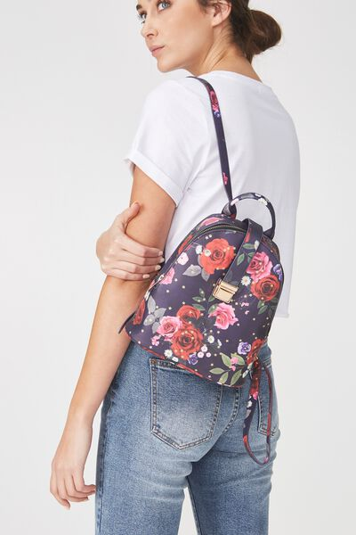 Buckle Backpack, NAVY FLORAL
