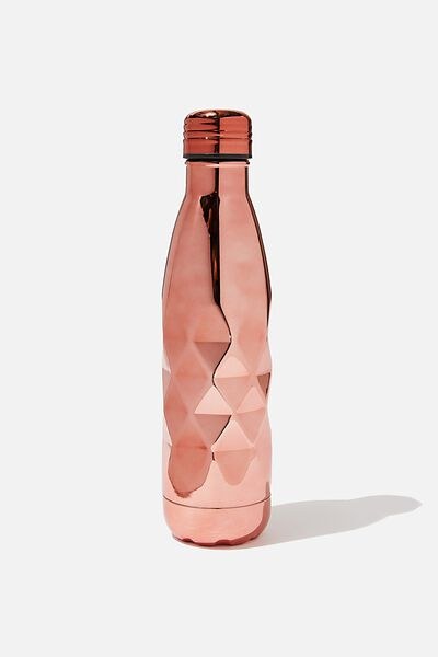 Premium Metal Drink Bottle, ROSE GOLD FACETED