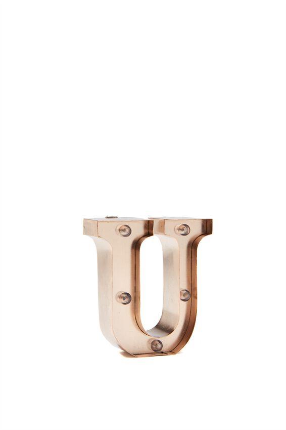 Mini Marquee Letter Lights 10cm, ROSE GOLD U