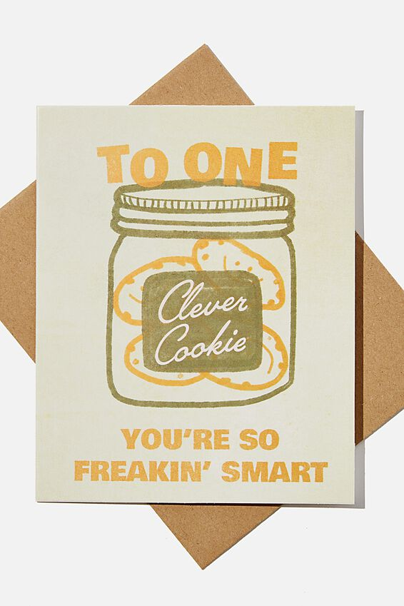 Congratulations Card, ONE CLEVER COOKIE SO SMART