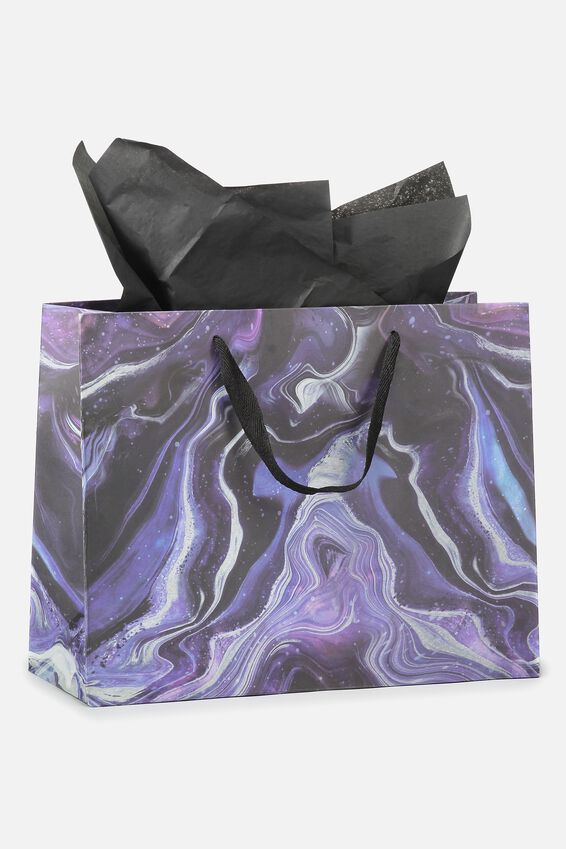 Medium Gift Bag with Tissue Paper, MOON MARBLE
