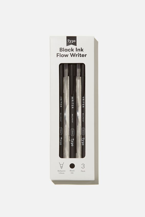 Black Ink Flow Writer 3Pk, BLACK