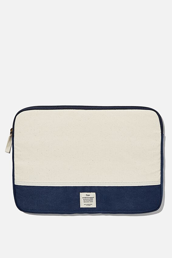 Canvas 13 Inch Laptop Case, NATURAL AND NAVY