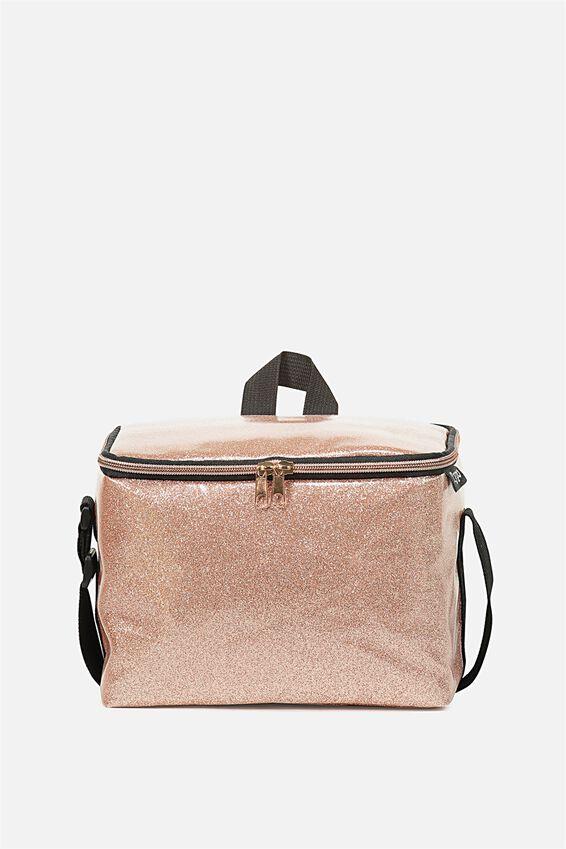 Premium Cooler Lunch Bag, ROSE GOLD GLITTER