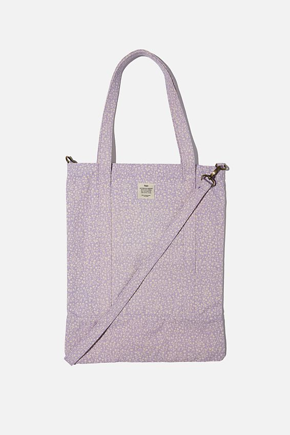 Book Tote Bag, PALE LILAC MEADOW DITSY