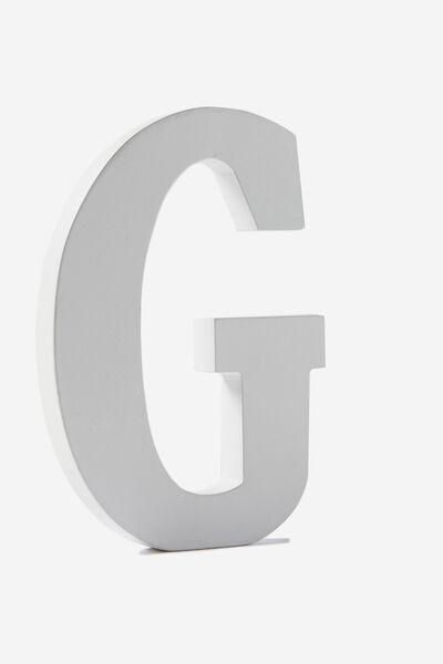 Letterpress Wooden Letter, WHITE G