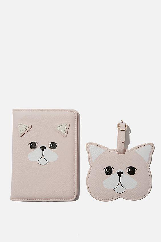 Rfid Passport & Luggage Tag Set, BLUSH CAT
