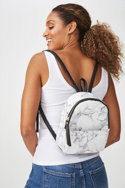 Mini Cairo Backpack, WHITE MARBLE