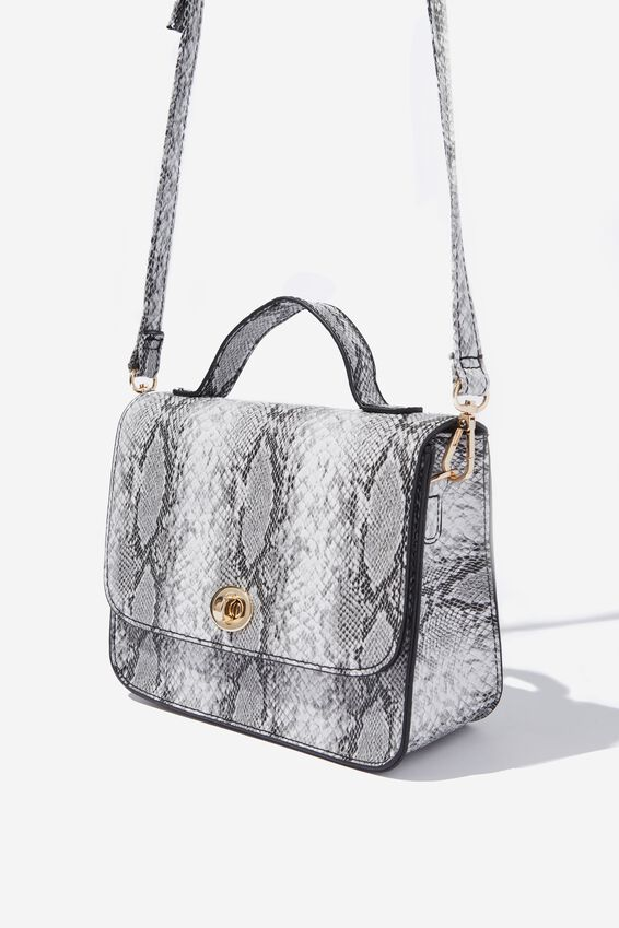 Mini Turnlock Satchel Bag, BLACK AND WHITE SNAKESKIN