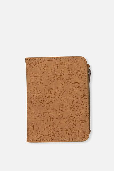 Classic Passport Holder, MID TAN FLORAL PERF