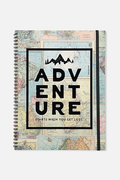 A4 Spinout Notebook - 120 Pages, ADVENTURE LOST MAP