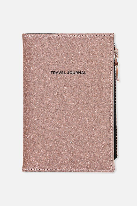 Travel Zip Journal, ROSE GOLD GLITTER