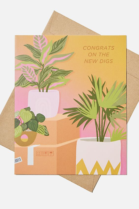 Congratulations Card, NEW DIGS PLANTS
