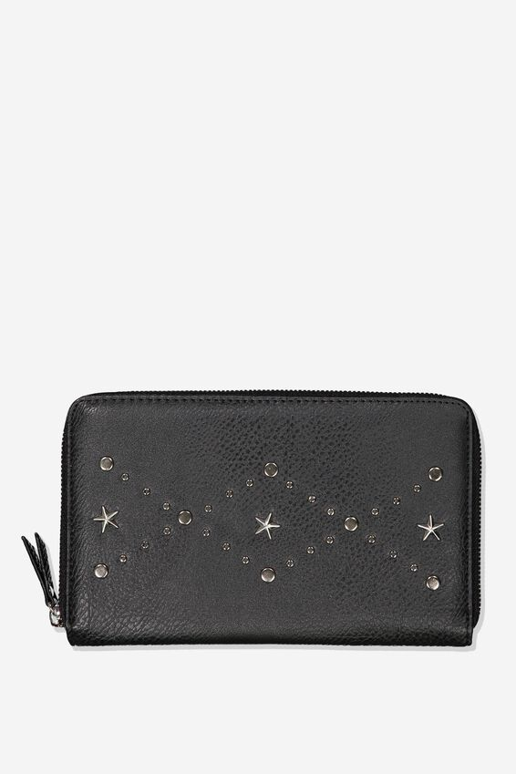 Rfid Odyssey Travel Compendium Wallet, BLACK W STAR DETAIL