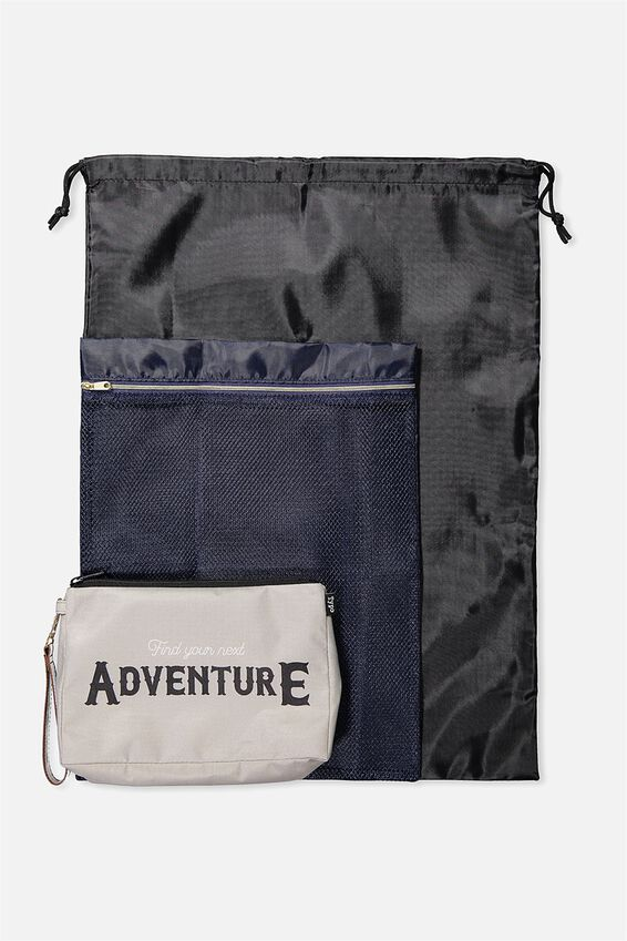 3 Pc Travel Organiser Bags, GREY ADVENTURE
